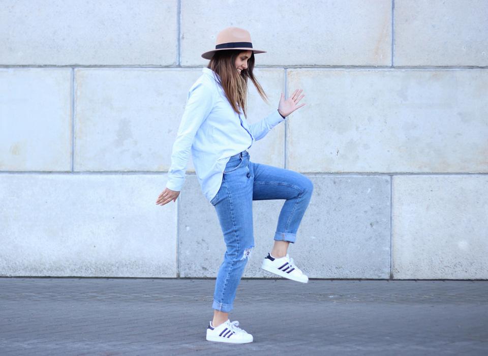 Young Girl Wearing Superstar Shoe