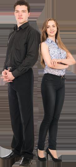 Businessman and woman standing-wiz wordpress theme-startup demo