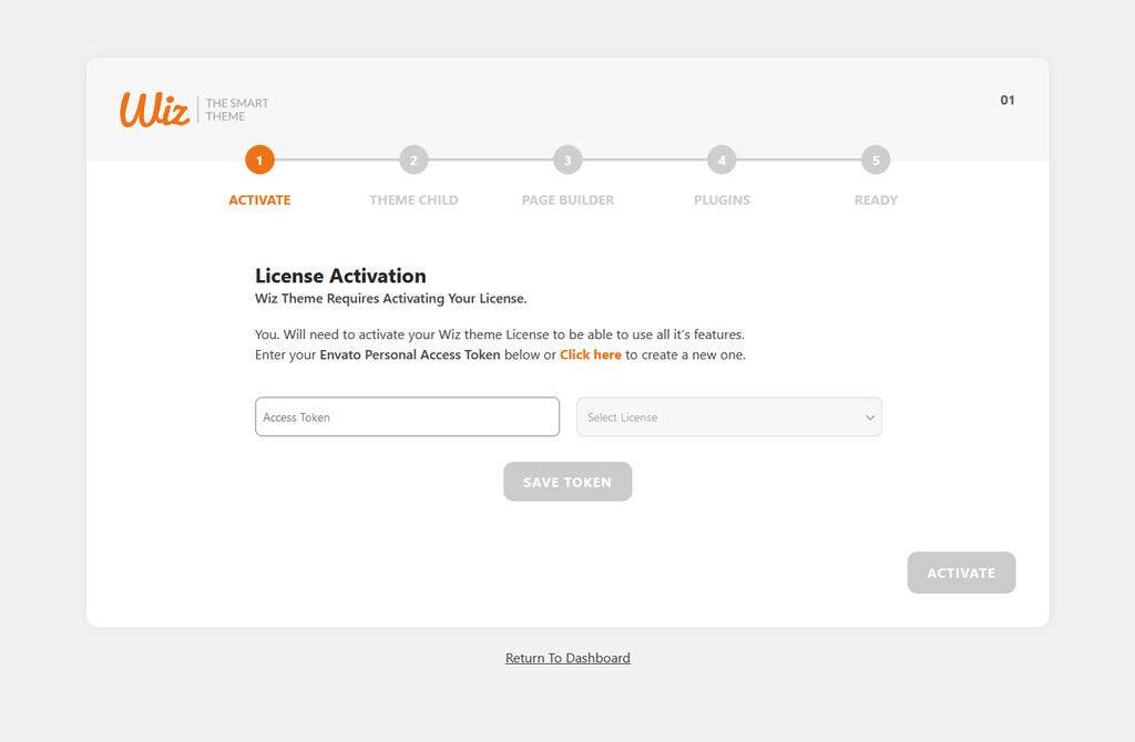 Access Token Field in Wiz WordPress Theme Wizard