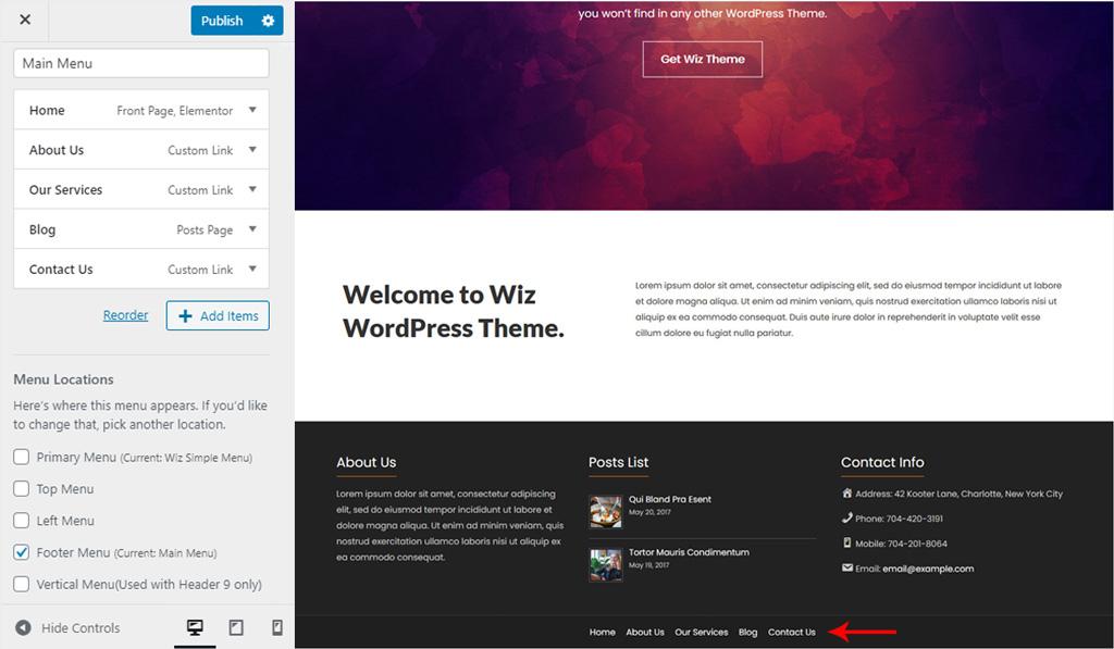 Assign Menu for Footer Bar for Wiz WordPress Theme