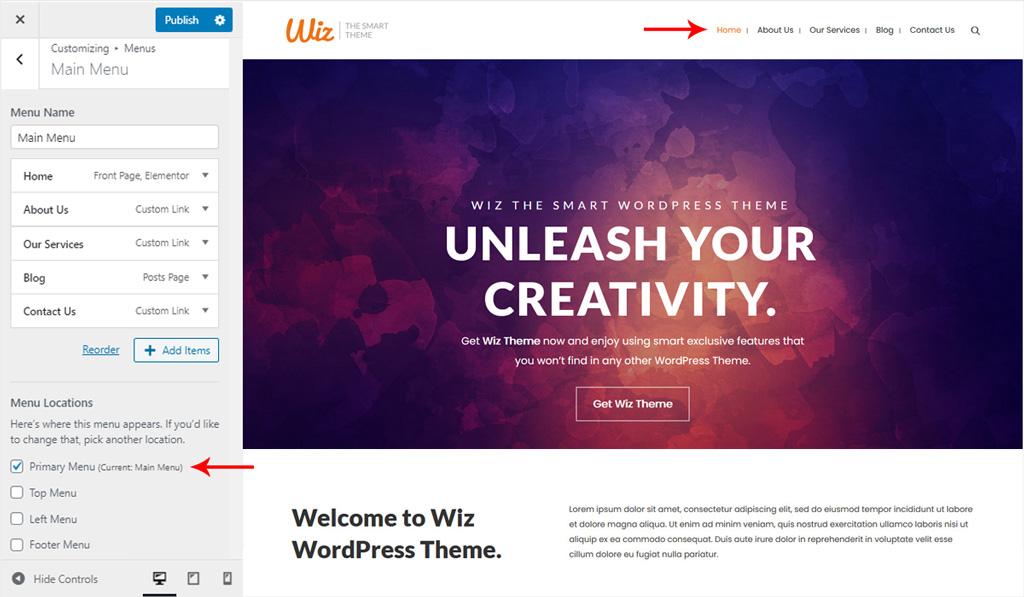 Assign Menu for Main Menu in Wiz WordPress Theme