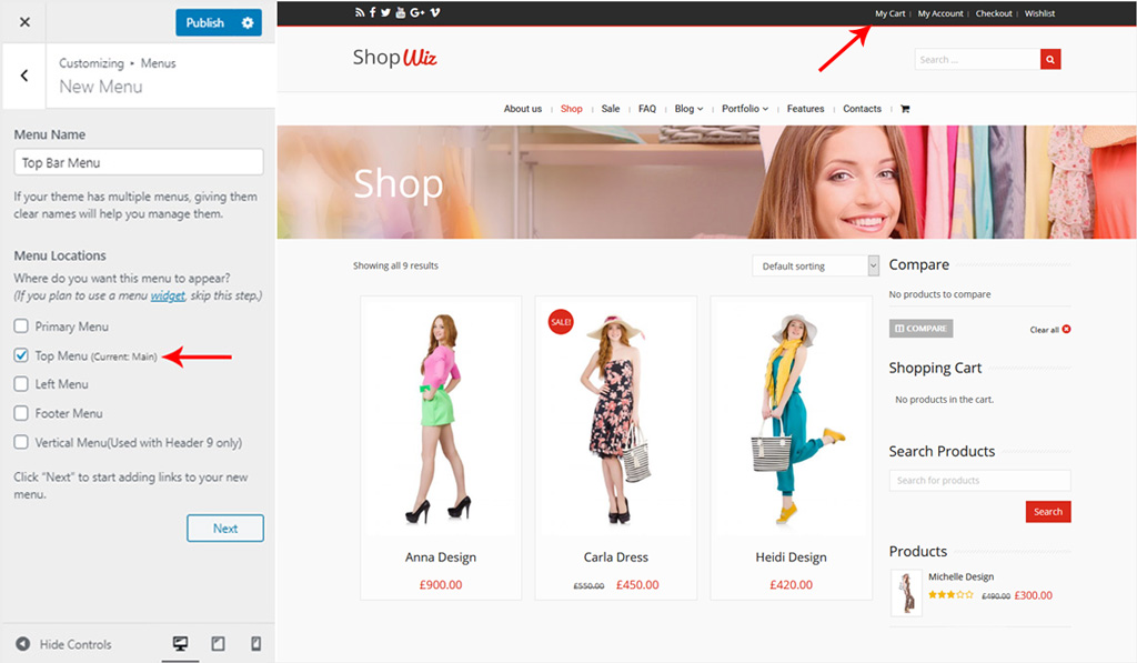 Assign Menu for Top Bar Section in Wiz WordPress Theme