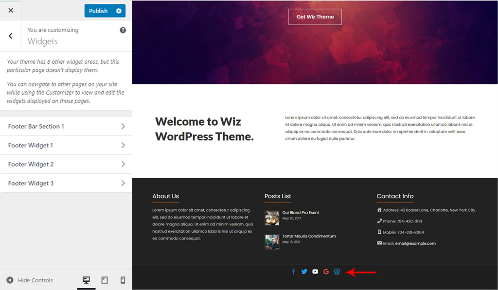 Assign Widget for Footer Bar for Wiz WordPress Theme