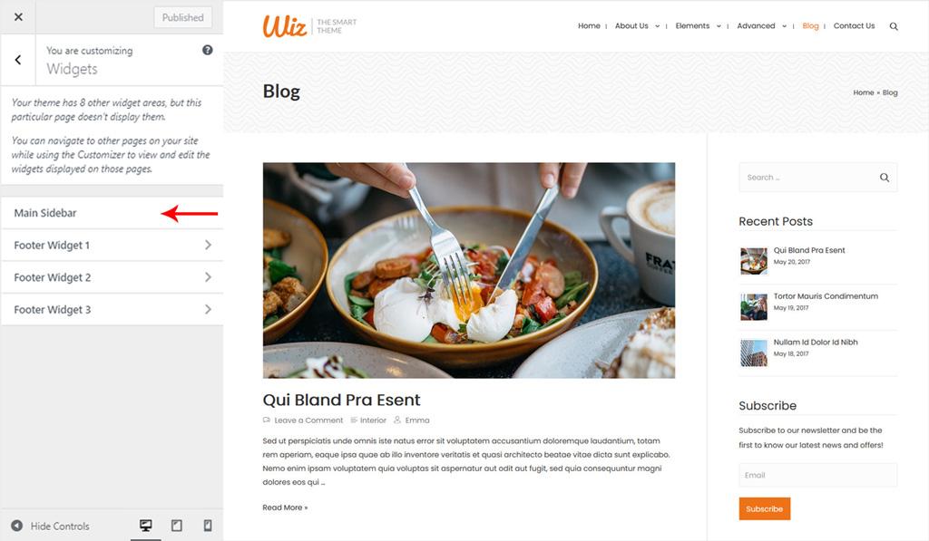 Assign Sidebar Widget for Wiz WordPress Theme