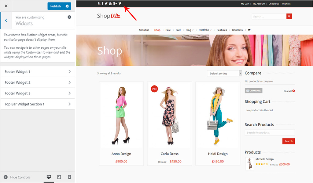 Assign Widget for Top Bar Section in Wiz WordPress Theme