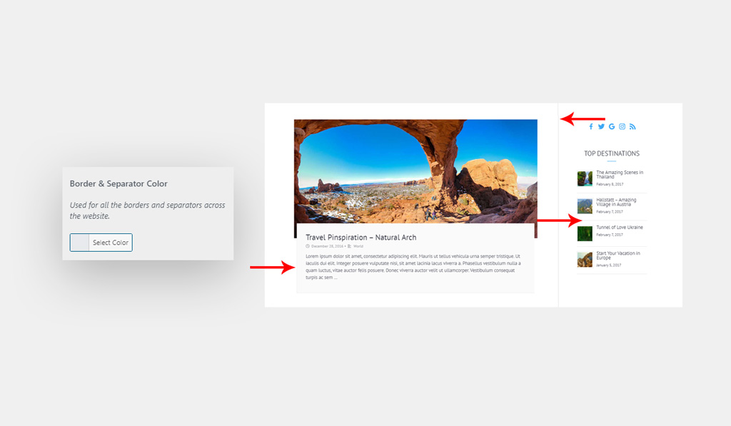Border Separator Color for Wiz WordPress Theme