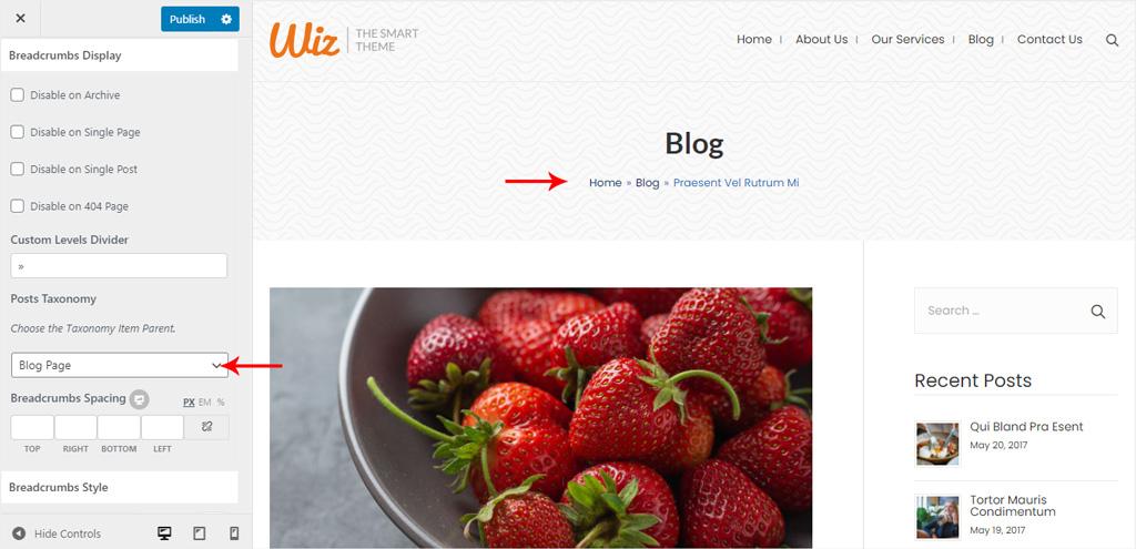 Breadcrumbs Display Wiz WordPress Theme
