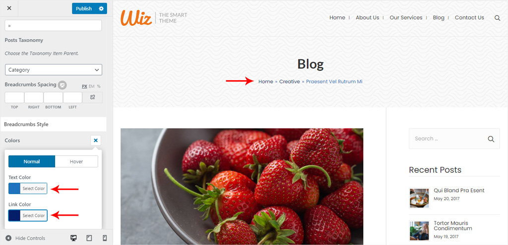 Breadcrumbs Style for Wiz WordPress Theme