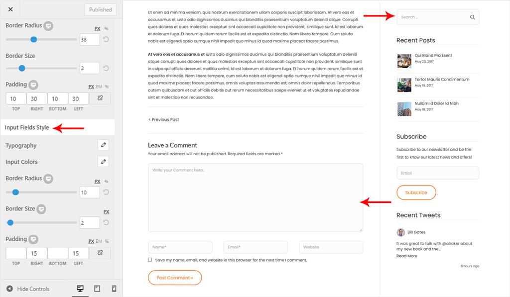 Global Input Fields Style in Wiz WordPress Theme