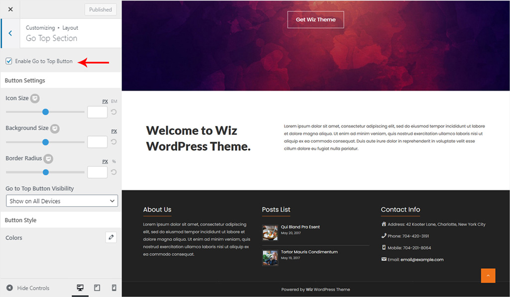 Enable Go Top Section for Wiz WordPress Theme