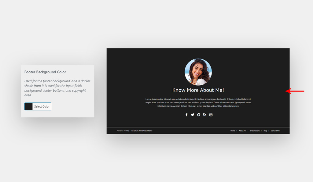 Footer Background Color for Wiz WordPress Theme
