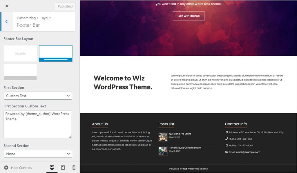Footer Bar Layout 1 for Wiz WordPress Theme