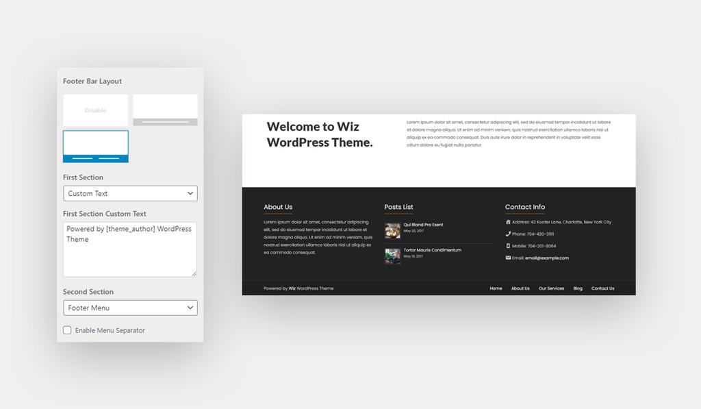 Footer Bar Layout 2 for Wiz WordPress Theme