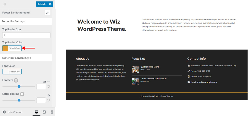 Footer Bar Style for Wiz WordPress Theme
