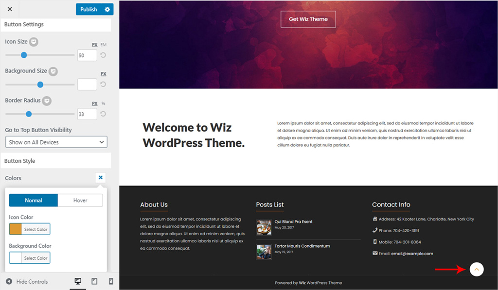 Go Top Section Colors for Wiz WordPress Theme