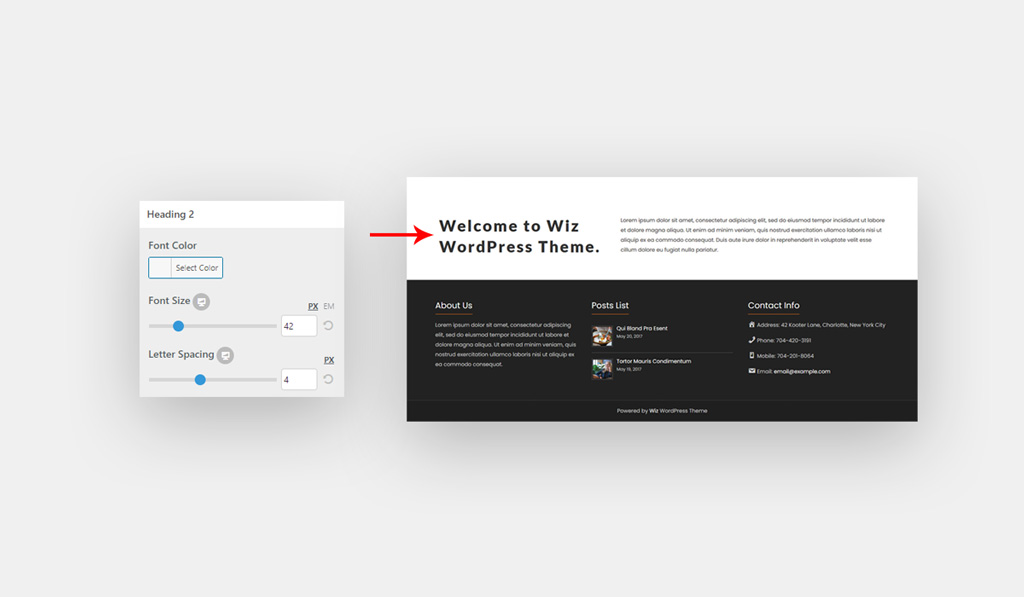 H2 Global Style for Wiz WordPress Theme