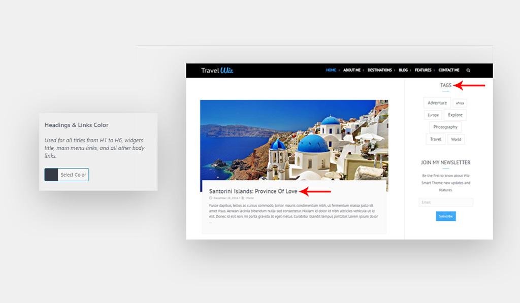 Heading & Links Colors for Wiz WordPress Theme