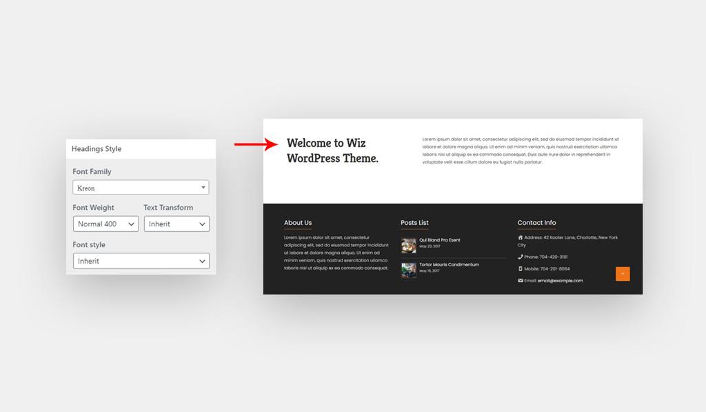 Heading Font for Wiz WordPress Theme