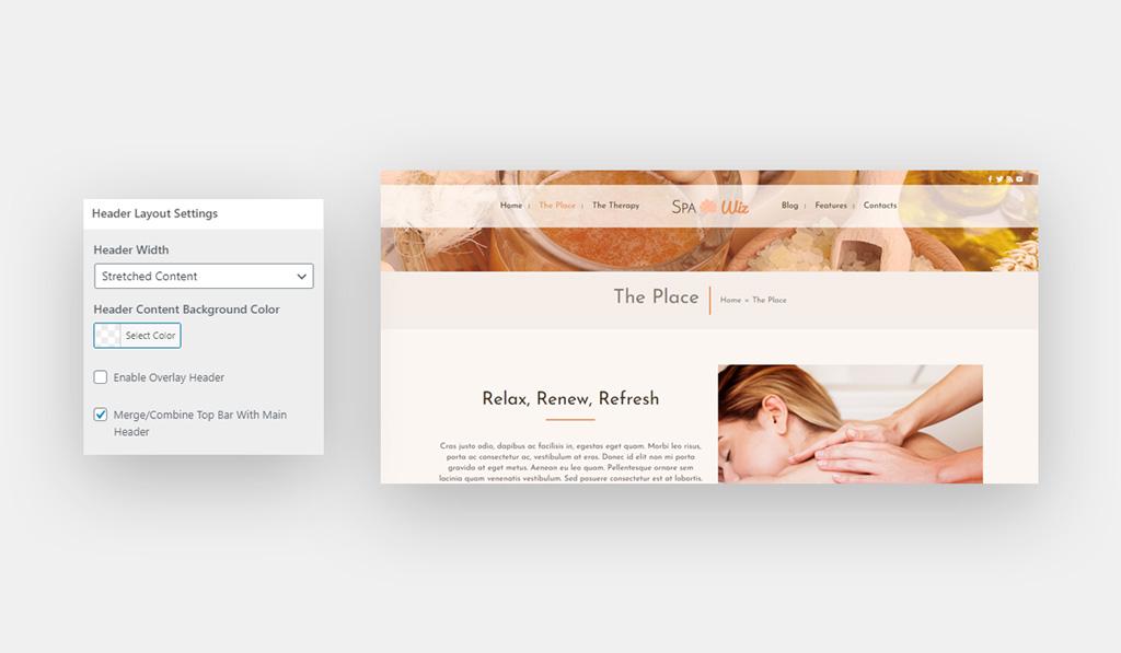 Merge Header and Top Bar for Wiz WordPress Theme