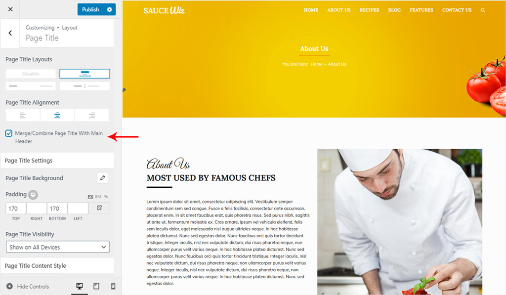 Merge Page Title and Main Header in Wiz WordPress Theme