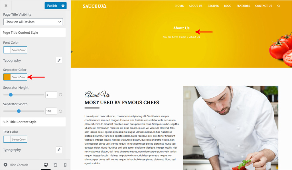 Page Title Style for Wiz WordPress Theme