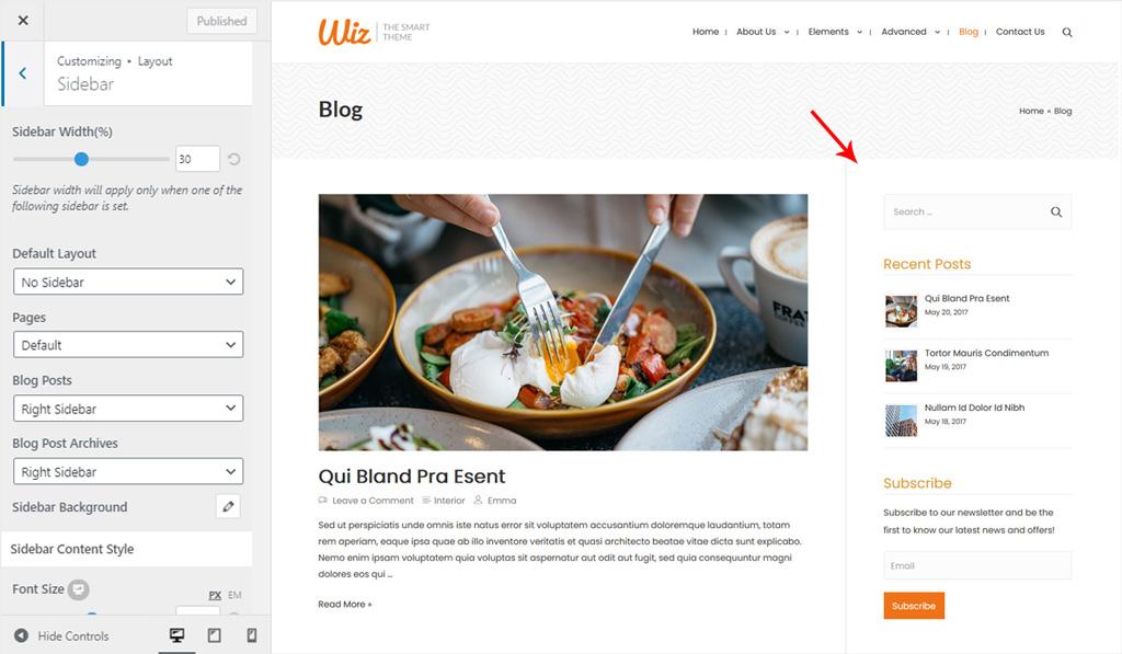 Sidebar for Wiz WordPress Theme