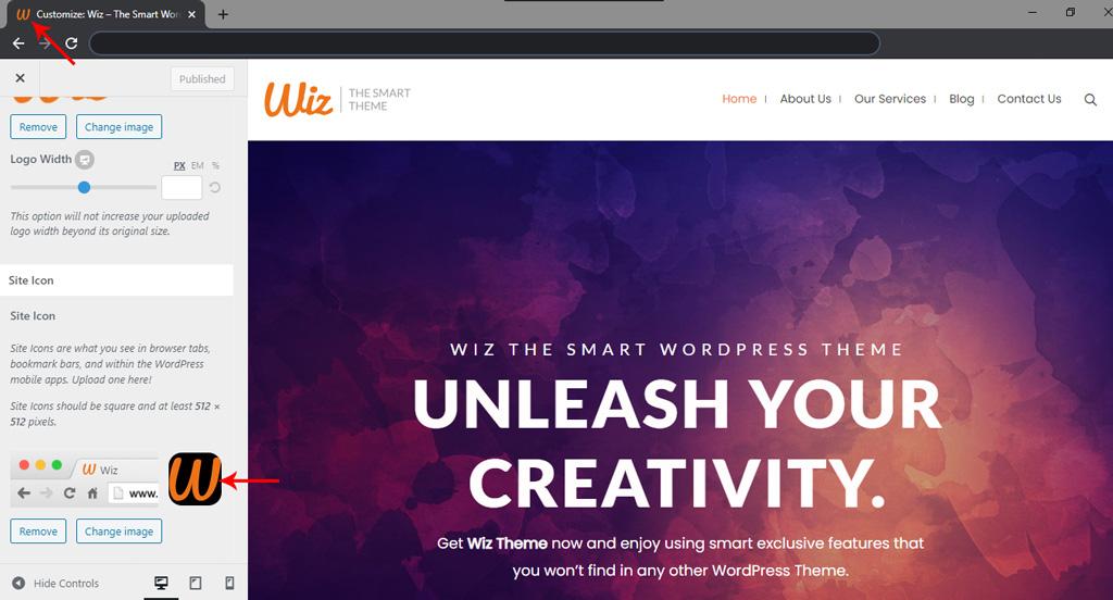 Site Icon for Wiz WordPress Theme