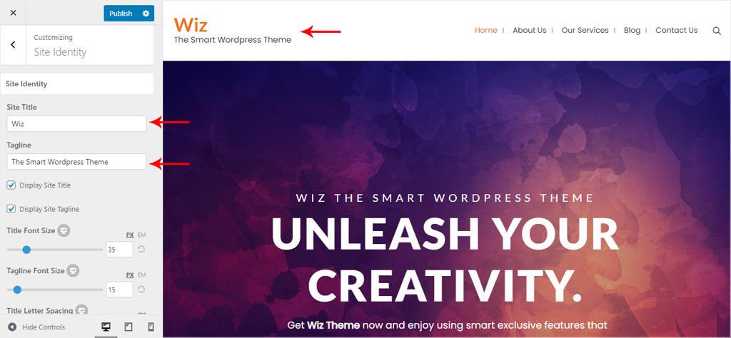 Site Title for Wiz WordPress Theme