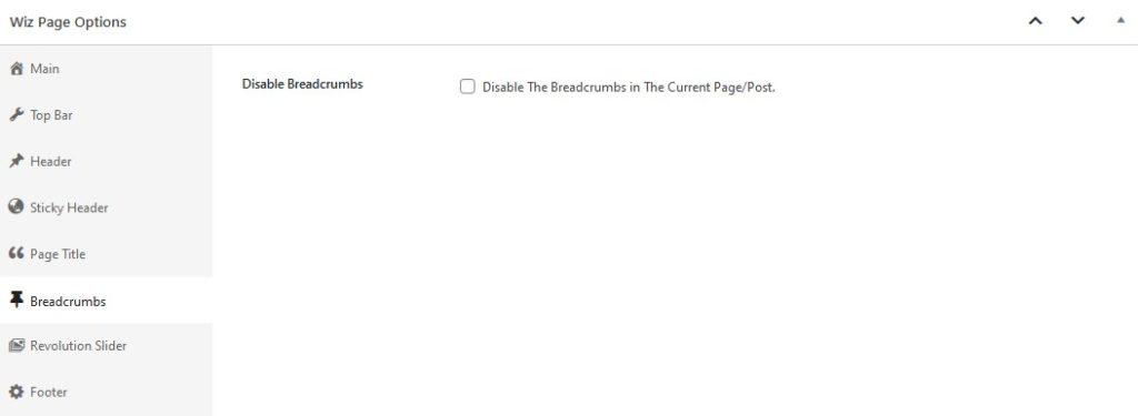 Breadcrumbs Options in Wiz WordPress Theme Page Options