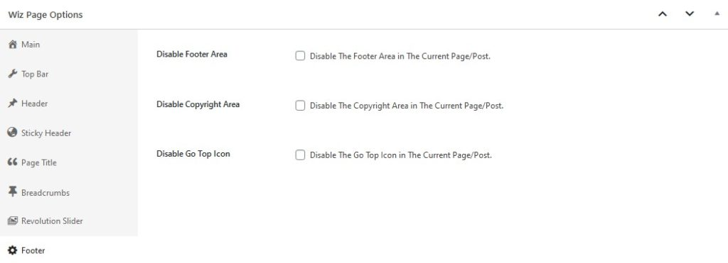 Footer Options in Wiz WordPress Theme Page Options