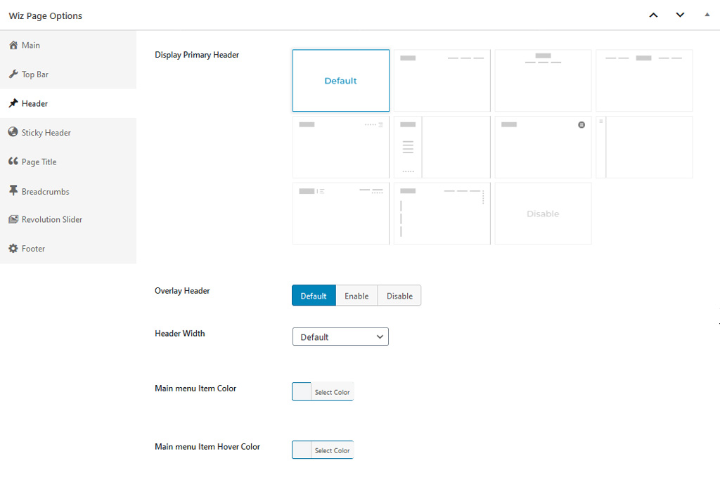 Header Options in Wiz WordPress Theme Page Options