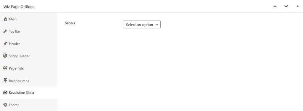 Revolution Slider Options in Wiz WordPress Theme Page Options