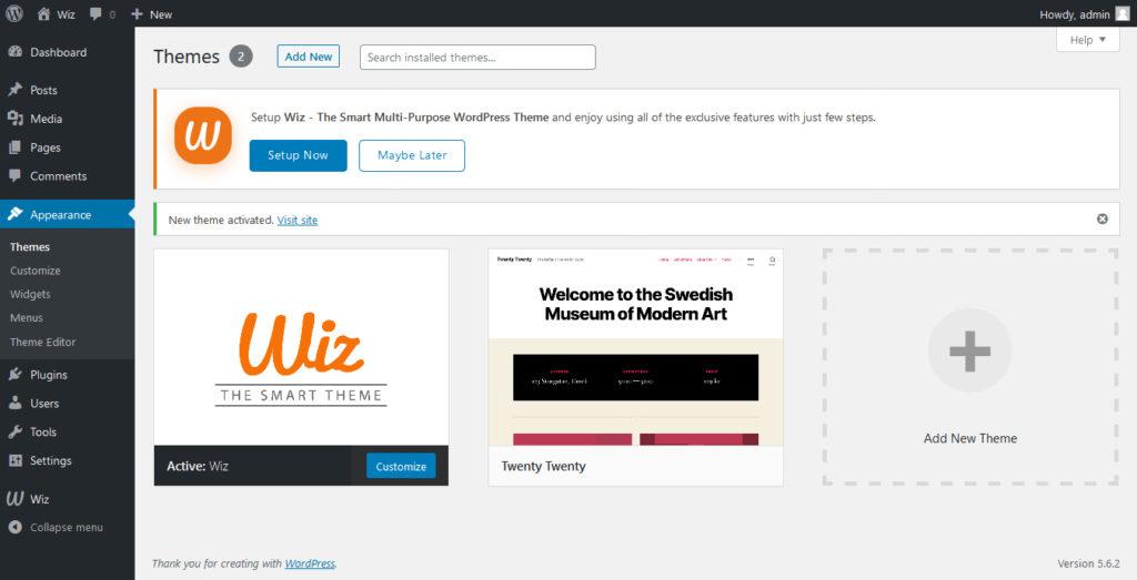 Wiz WordPress Theme Upload Successfully