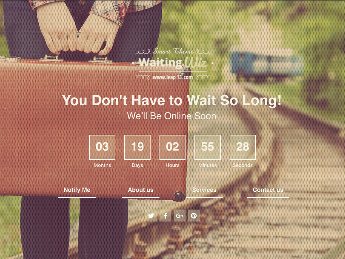 Under-Construction Waiting Page Built for Wiz The Smart Theme