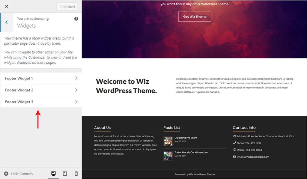 Assign Widget to Footer for Wiz WordPress Theme