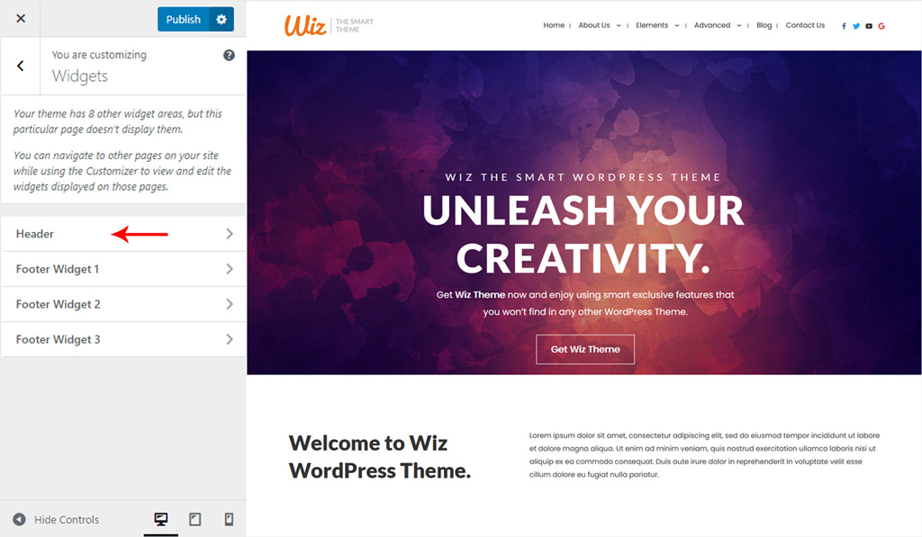 Assign Widget to Main Menu Header for Wiz WordPress Theme