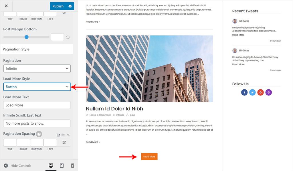 Blog Pagination Style in Wiz WordPress Theme