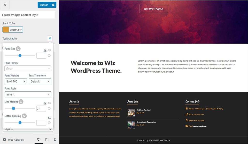 Footer Widget Content for Wiz WordPress Theme