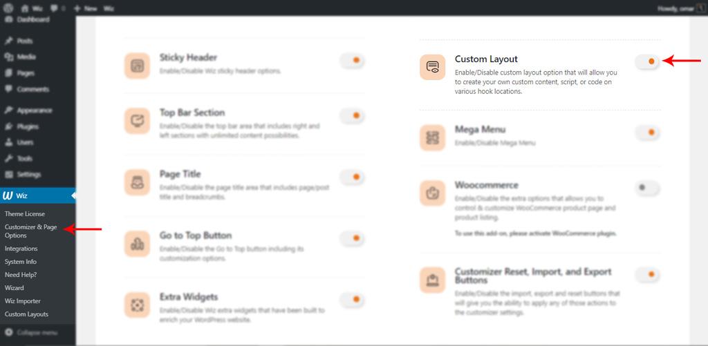 Enable Custom Layout Addon in Wiz WordPress Theme