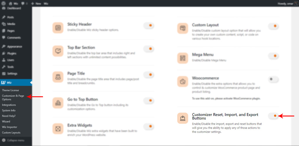 Enable Customizer Reset, Import, and Export Buttons in Wiz WordPress Theme