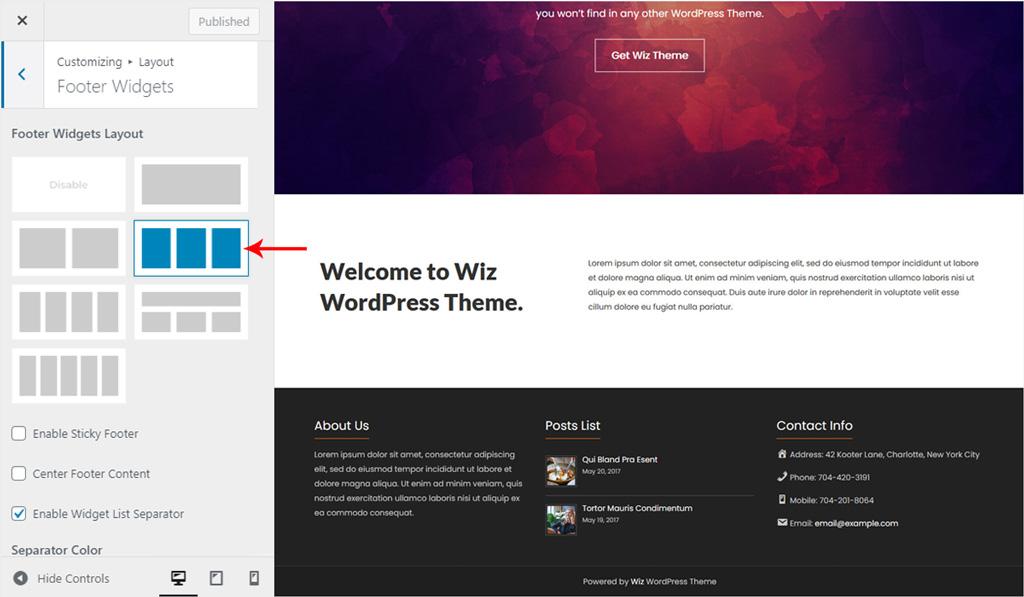 Footer Widget Layout for Wiz WordPress Theme