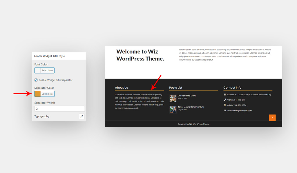 Footer Widget Title Style for Wiz WordPress Theme