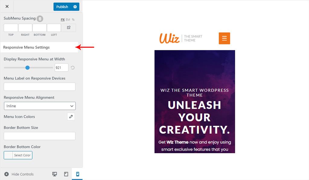 Responsive Menu Settings for Wiz WordPress Theme