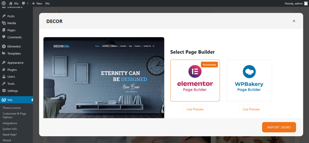 Select Demo Page Builder in Wiz Importer