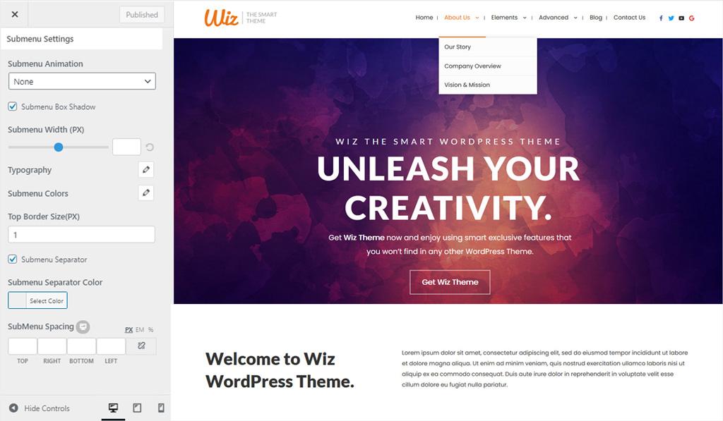 Submenu Settings in Wiz WordPress Theme