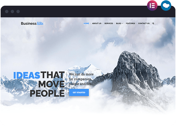 Business Modern Website Layout Available on Wiz The Smart WordPress Theme