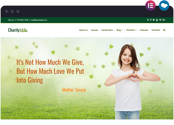 Charity Wiz Website Layout for Elementor and WPBakery WordPress Page Builders