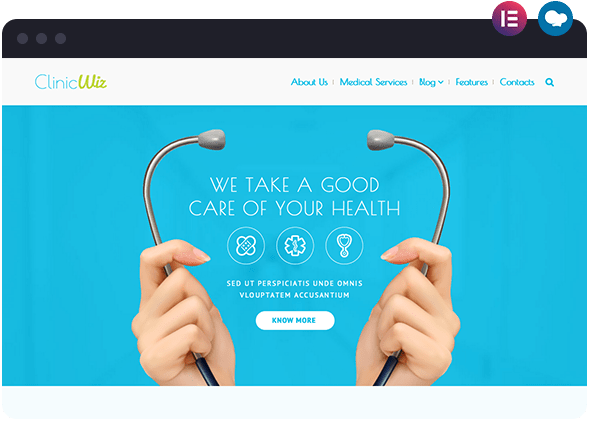 Clinic Wiz is a Medical Website Available on Wiz The Smart WordPress Theme