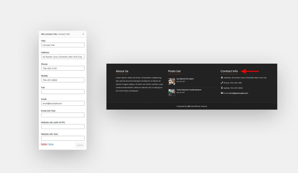 Wiz Contact Info Widget Settings for Wiz WordPress Theme