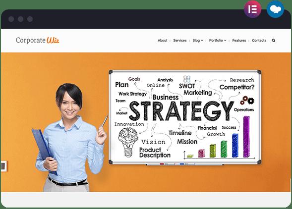 Corporate Website Layout for Wiz The Smart Multipurpose WordPress Theme